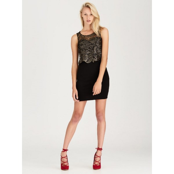 ONLY Slink dress with gold lace