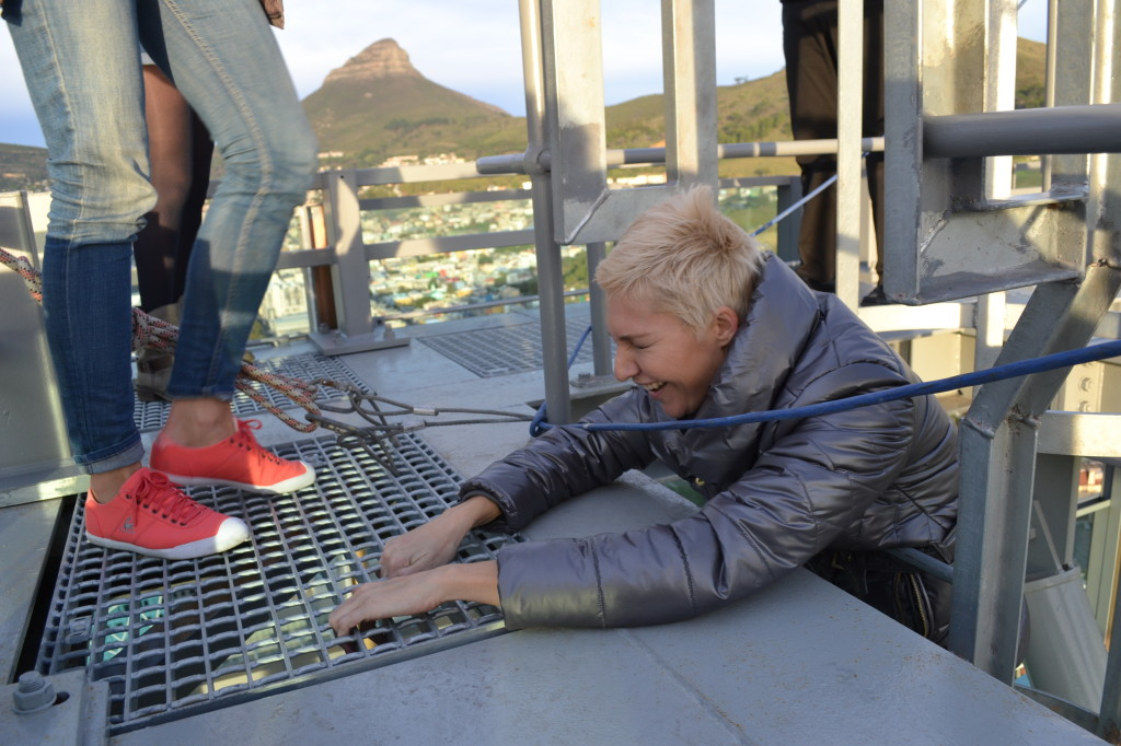 That's a little high! Liezel giggles nervously on the way up. PHOTO: Provided