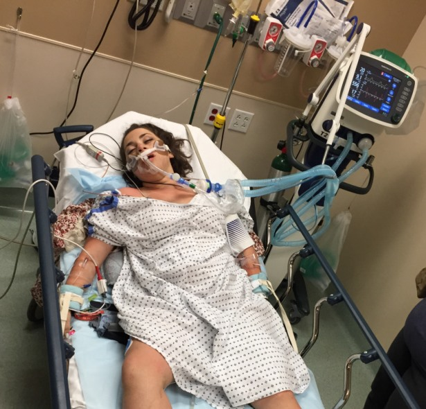Hanna in the emergency room an hour after she arrived at Renown hospital. PHOTO: hlottritz.wordpress.com