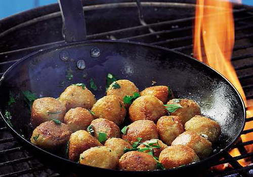With a cast-iron pan, you can make these snacks over the braai.