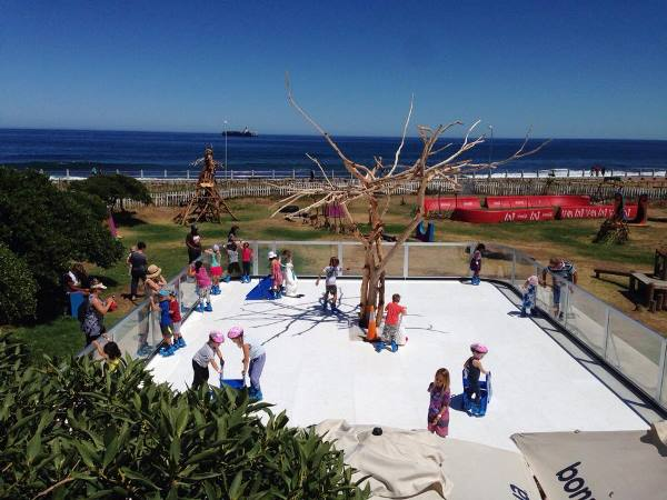 The synthetic ice rink installed at the Rotary Blue Train Park. PHOTO: Facebook