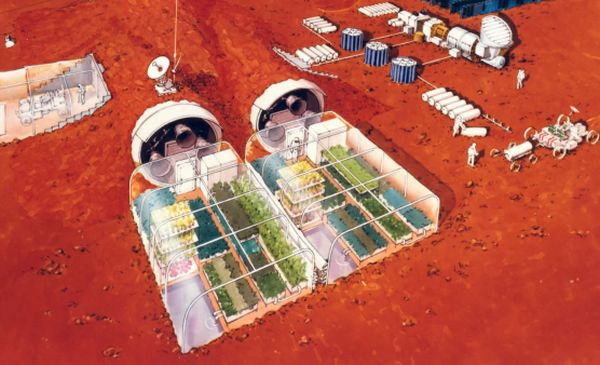This is how a farm on Mars will probably look: modules that serve as glass houses for the growing of plants on the Red Planet.