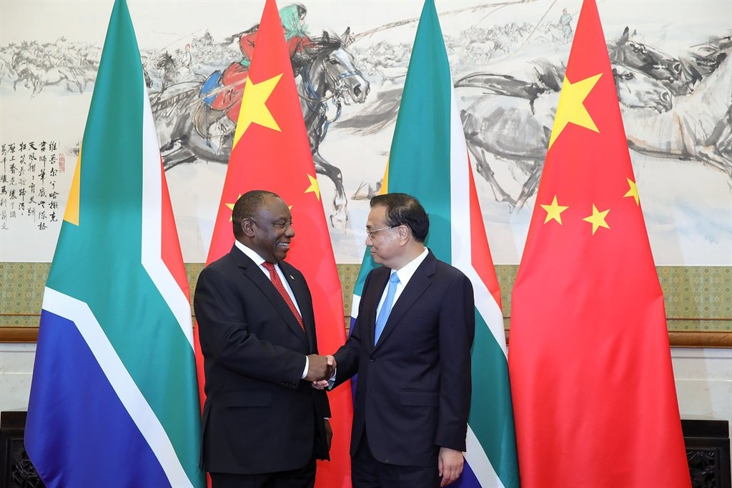 President Cyril Ramaphosa shakes hands with China's Premier Li Keqiang at Diaoyutai State Guesthouse in Beijing on Sunday (September 2 2018). Picture: Lintao Zhang/Reuters