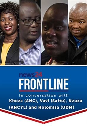 <strong>ALMOST TIME:</strong> News24 Frontline will be in conversation with outspoken ANC MP Makhosi Khoza, UDM leader Bantu Holomisa, Saftu General Secretary Zwelinzima Vavi and ANC Youth League Secretary Njabulo Nzuza. The LIVE interview starts at 19h00 tonight.