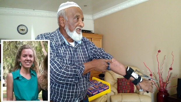 Farouk Mohamed (74) has lost partial use of his left arm after being attacked by his friend's dog. INSET: Fay Morris.
