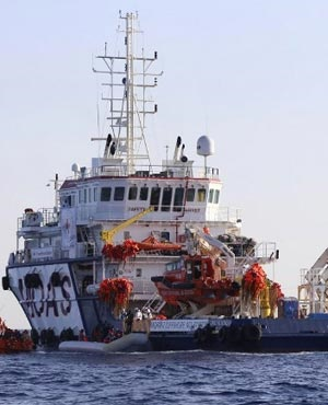 An aid ship during a rescue operation run by the Malta-based NGO Migrant Offshore Aid Station. (Stringer, AFP)