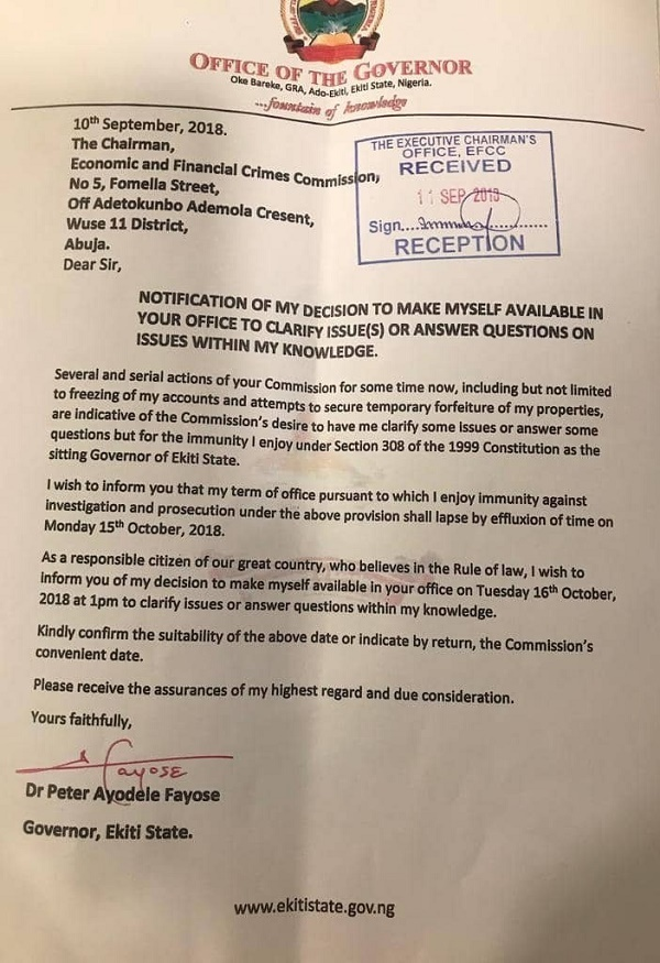 Fayose's letter to EFCC