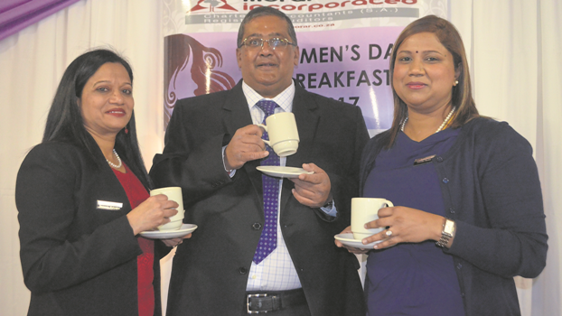 Morar Incorporated hosted a Women's Day breakfast to acknowledge the contributions of business-minded women. Enjoying a cup of tea are (from left) Sameela Mahadea, Roshan Morar and Jennifer Reddy.
