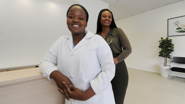 Dr Thobile Mkhabela (front) and Dr Velile Radebe, who have recently launched their own medical centre in the CBD.