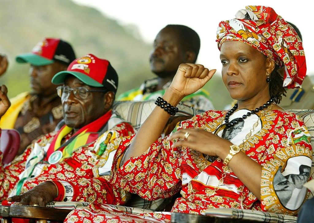 First lady Grace Mugabe alongside her husband, Robert, during a rally in Zimbabwe. Picture: Themba Maseko