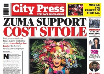 What's in City Press: Sex vs rape: Ruling sparks outrage   Zuma support cost Sitole   Pearl Thusi ends the year on a high
