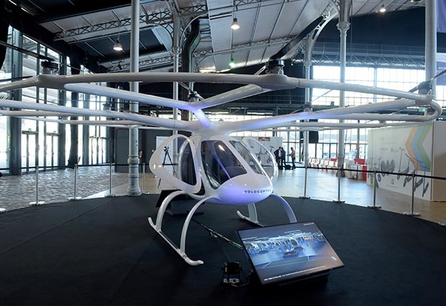 An electric Volocopter 2X by German aircraft manuf