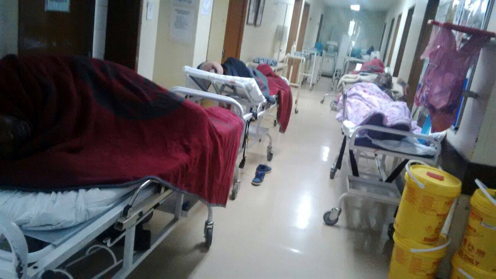 Patients at Pholosong Hospital in Ekurhuleni are housed in the corridors as a result of overcrowding. Picture: Muntu Nkosi