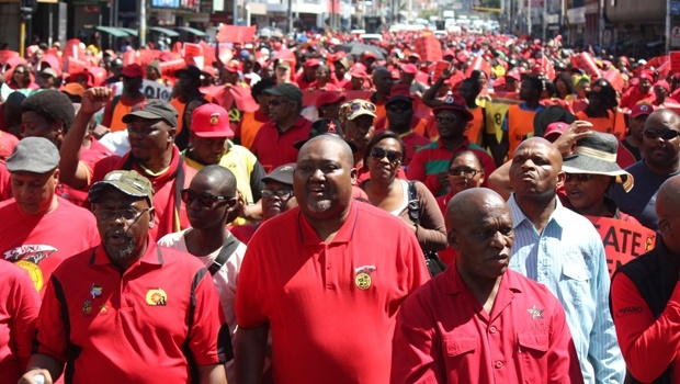 Cosatu president Sdumo Dlamini (left) and SACP chairperson Senzeni Zokwana (right) led thousands of Cosatu members in Durban as part of the nationwide strike against state capture.