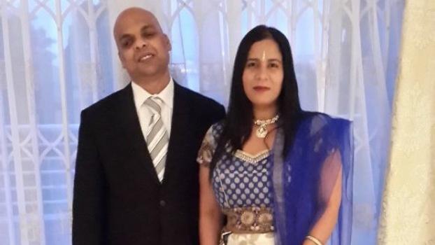 Dharashan Naidu with his wife Elisha.