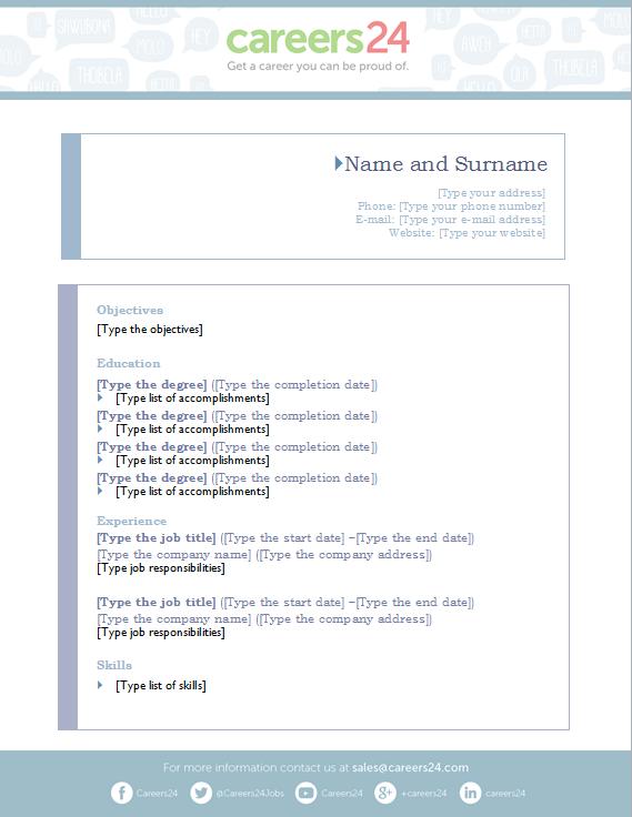 download CV template