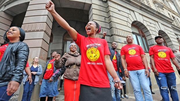 Members of the Communication Workers' Union protest outside the Pietermaritzburg Post Office n Langalibalele Street on Thursday.