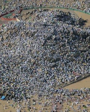 Muslim pilgrims gathering on Mount Arafat, also known as Jabal al-Rahma southeast of the Saudi holy city of Mecca. (Karim Sahib, AFP)