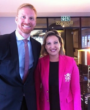 Dr Achim Schmitt (left) and Valérie de Corte of EHL during their visit to South Africa. (Pic: Carin Smith)