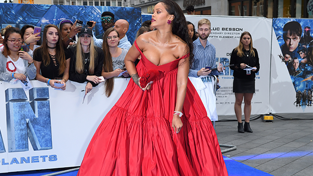 Rihanna in a beautiful red gown.