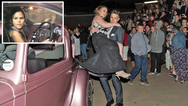 MAIN: Keaton Pointer (18) and Hannah Briggs (17) arrived to their Matric Dance last month in a vintage 1934 Chevrolet Street Rod. INSET: Joelle van Niekerk (17) turned up to her school's Winter Ball last weekend in an Aston Martin flanked by a fleet of motorcycles.