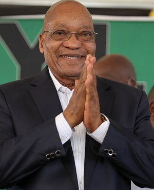 President Jacob Zuma smiles during the African National Congress Youth League cadres' forum at uPhongolo. (Thuli Dlamini, Gallo Images, The Times, file)