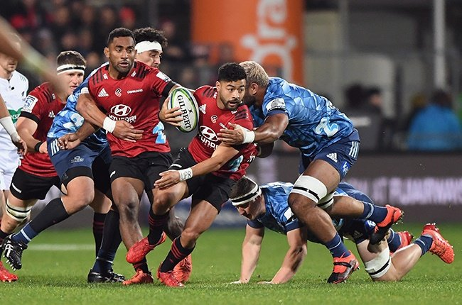 Crusaders flyhalf Richie Mounga on the charge against the Bues in Christchurch on 11 June 2020.