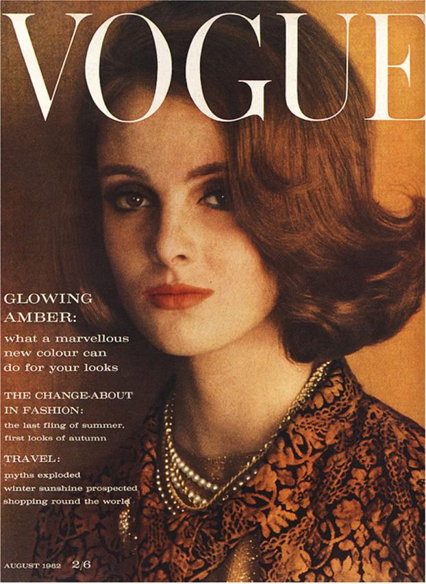 Grace Coddington op die voorblad van Vogue 1962