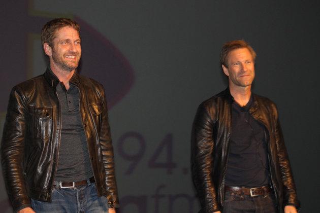 Aaron Eckhart en Gerard Butler by Montecasino in SA