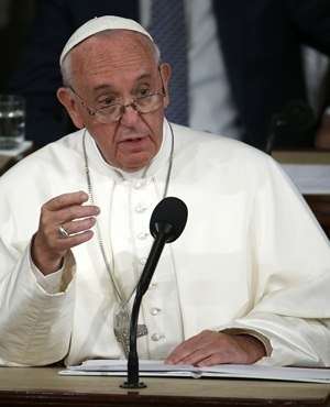 Pope Francis addresses Congress. (AP)