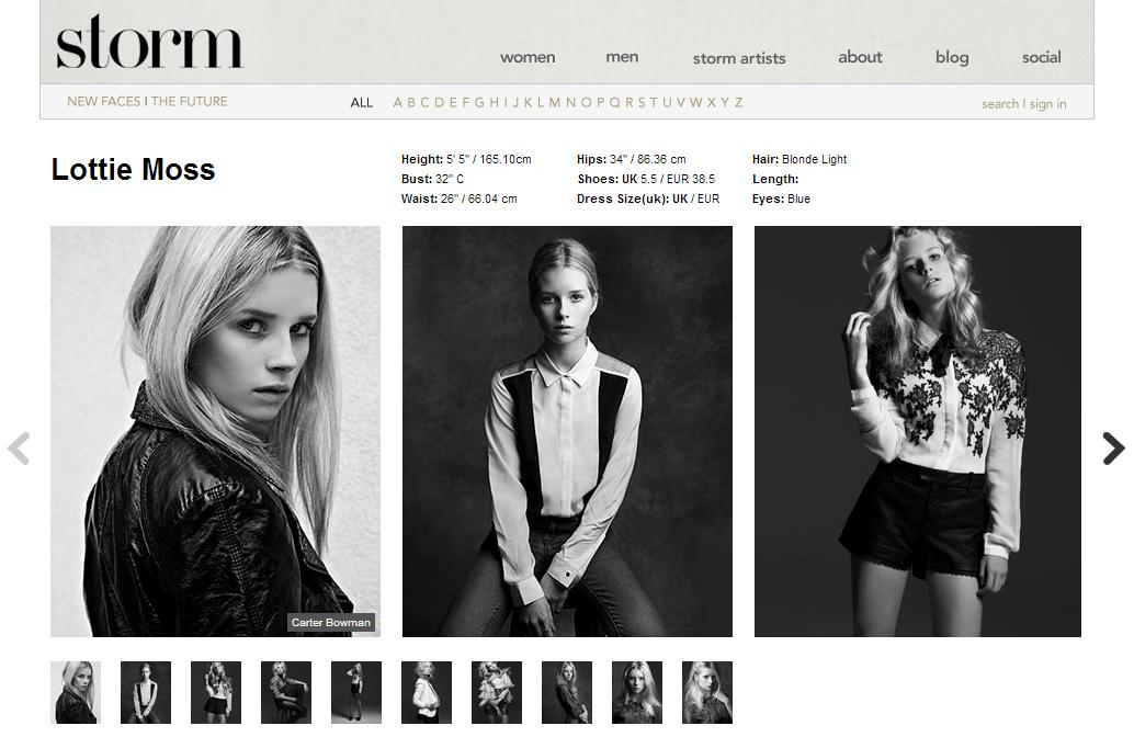 FOTO: Lottie Moss se portefeulje by die modelagentskap, Storm