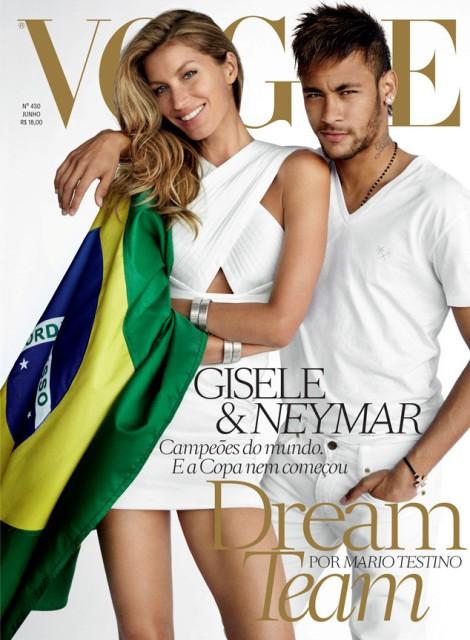 Gisele en die Brasiliaanse sokkerspeler, Neymar op die voorblad van Vogue