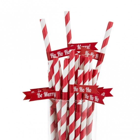 Christmas Cheer Paper Straws And Flags Red