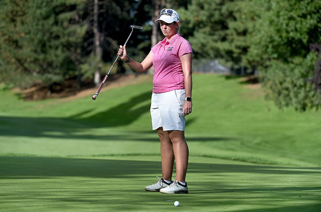 Ashleigh Buhai of South Africa reacts to missing a putt on the second playoff hole to lose the Portland Classic at Columbia Edgewater Country Club in Portland, Oregon on 20 September 2020.