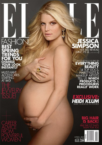 A pregnant Jessica Simpson is pictured on the cover of the April 2012 issue of Elle magazine