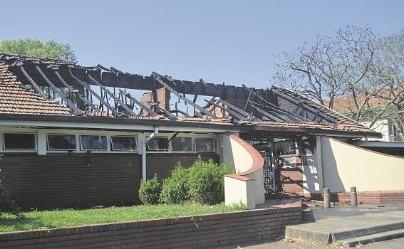 The entrance to the William O'Brien residence at the University of KwaZulu-Natal's (UKZN) Pietermaritzburg campus was yesterday set alight - the fire gutted the turnstile and the communal room alongside the entrance.
