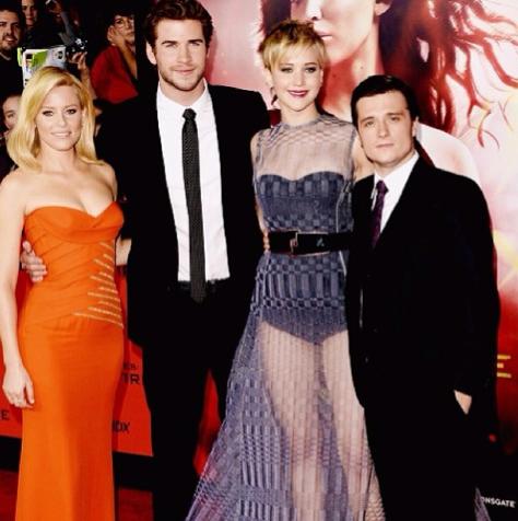 "Jennifer en haar mede-spelers van ""Hunger Games: Catching Fire"" FOTO: Instagram"