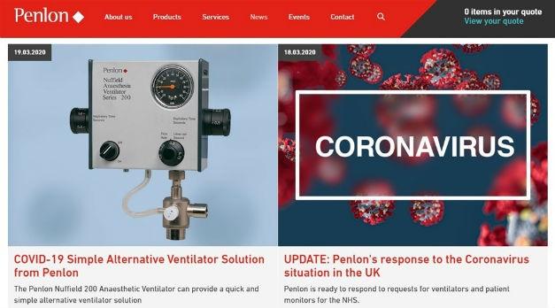 A screenshot of Penlon's website