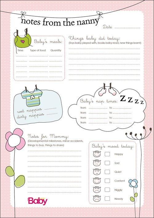 photo about Free Printable Infant Daily Sheets named Printable: Day-to-day chart for nannies Mother or father24