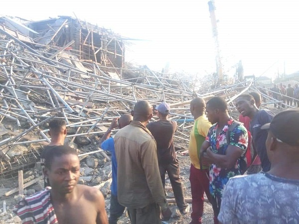 Scene of the collapsed building