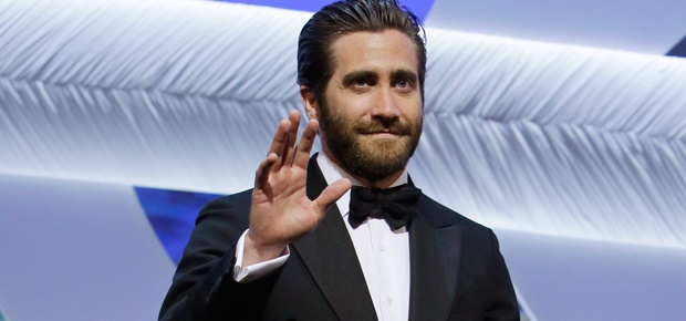 Jake Gyllenhaal walks the stage at the closing ceremony of the Cannes Film Festival. (AP)