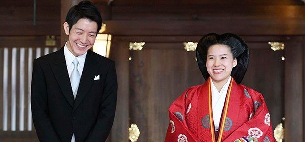 Japanese Princess Ayako, right, dressed in traditi