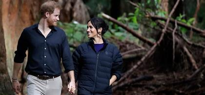 Prince Harry and Meghan walking in Redwoods Forest