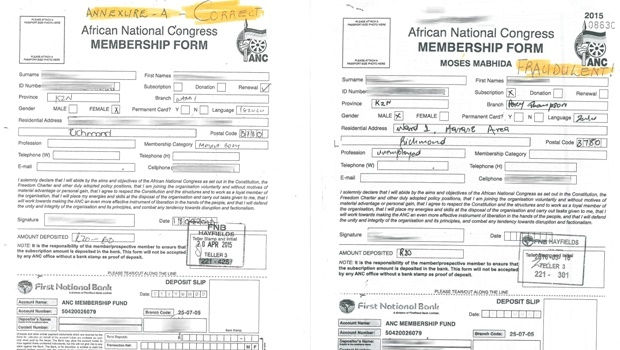 A verification exercise of ANC membership has allegedly uncovered hundreds of fraudulent ANC membership forms from Richmond.