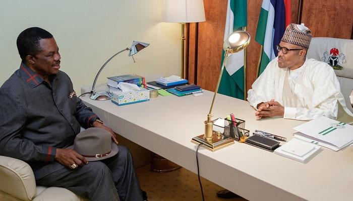 Willie Obiano and Muhammadu Buhari in Buhari's off