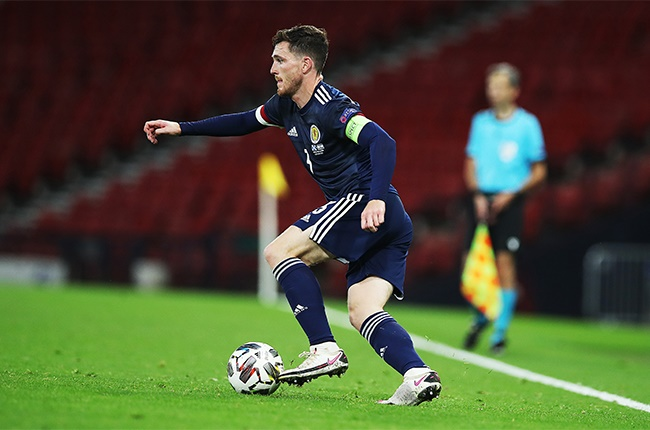 Andy Robertson of Scotland is seen in action during the UEFA Nations League group stage match between Scotland and Israel at Hampden Park National Stadium on September 04, 2020 in Glasgow, Scotland.
