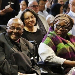 Archbishop Desmond Tutu, seated next to his wife Leah Tutu, at the St. George's Cathedral in Cape Town on Saturday on his 86th birthday. (Aletta Harrison, News24)