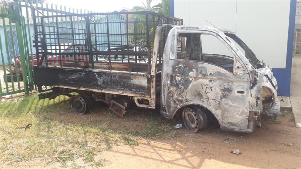 The burnt Hyundai truck at the scene where three men were killed near Groblersdal.