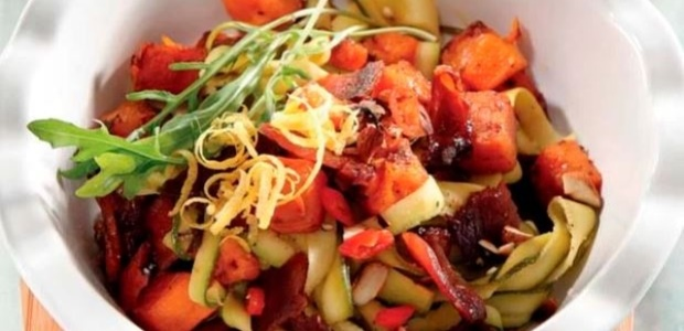Baby marrow 'pasta' with bacon and butternut