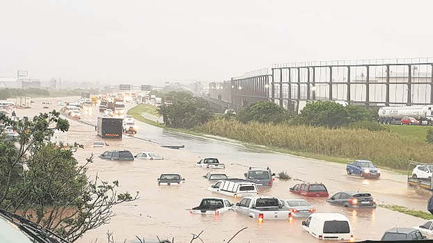 Flooding on the N2 south of Durban near the old airport on Tuesday.